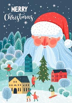 Ilustração de natal e feliz ano novo. .