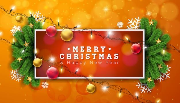 Ilustração de natal feliz com guirlanda de luzes e ramo de pinheiro