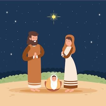 Ilustração de natal natividade em design plano