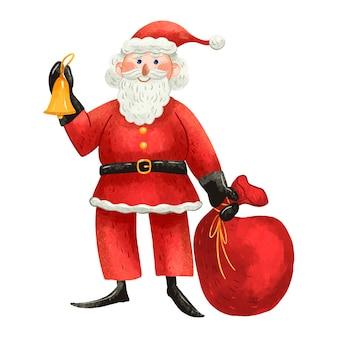 Ilustração de natal papai noel está parado com uma sacola de presentes e um sino desenhado em um estilo fofo para crianças