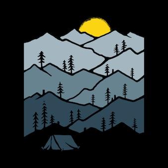 Ilustração de natureza de acampamento de montanha