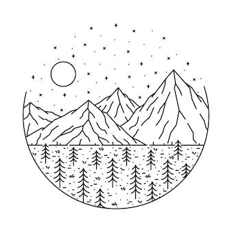 Ilustração de natureza selvagem montanha