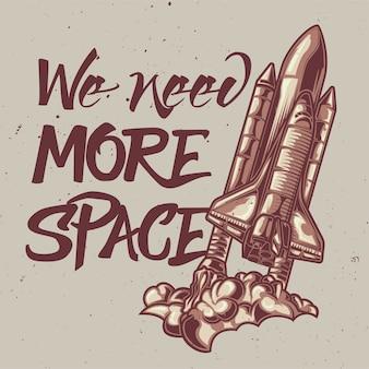 Ilustração de nave espacial com letras: precisamos de mais espaço