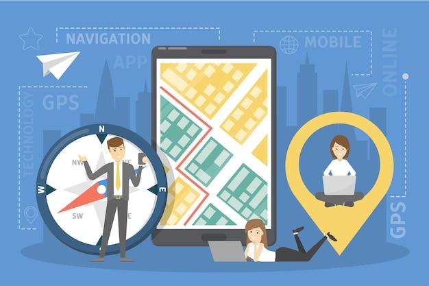 Ilustração de navegação gps móvel