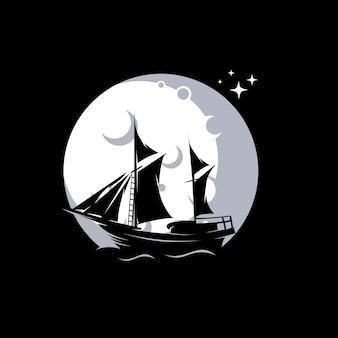 Ilustração de navio à vela na lua
