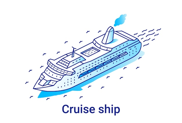 Ilustração de navio de cruzeiro em estilo isométrico linear. linha de arte mínima.