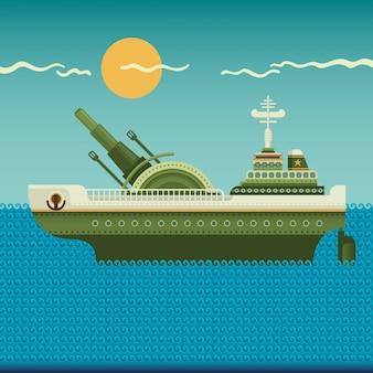 Ilustração de navio de guerra