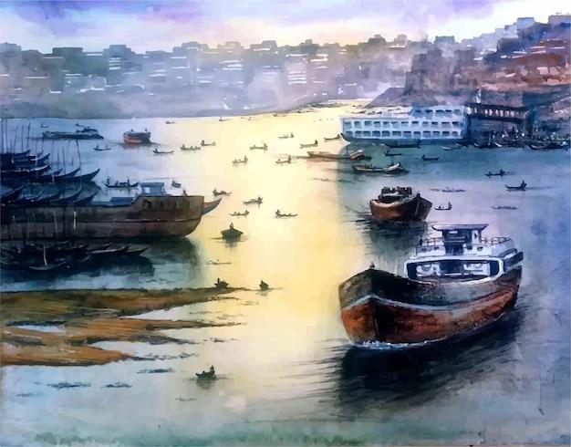Ilustração de navio e barco em aquarela mão desenhada na praia do mar