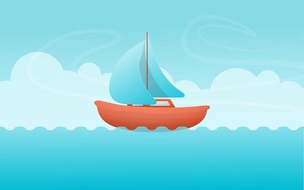 Ilustração de navio no mar com céu azul