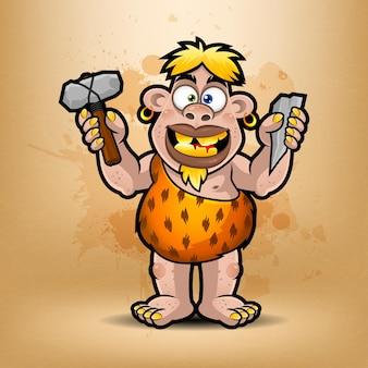 Ilustração de neandertal segura pedra e martelo, formato eps 10