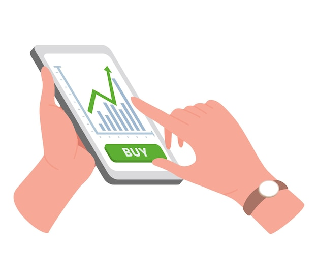 Ilustração de negociação na internet com as mãos e o telefone