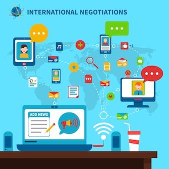 Ilustração de negociações internacionais