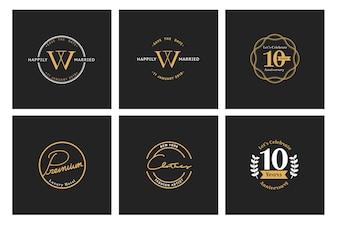 Ilustração, de, negócio, loja, logotipo, selo, bandeira