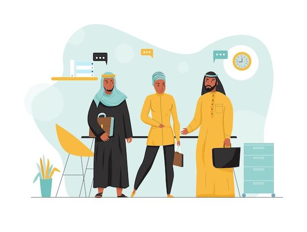 Ilustração de negócios árabes lisos e coloridos