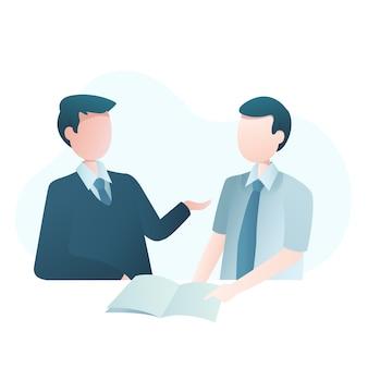 Ilustração de negócios com dois empresários negociação de cooperação
