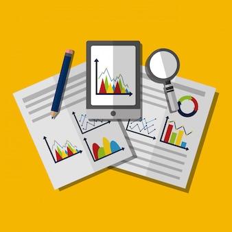 Ilustração de negócios de análise de dados estatísticos