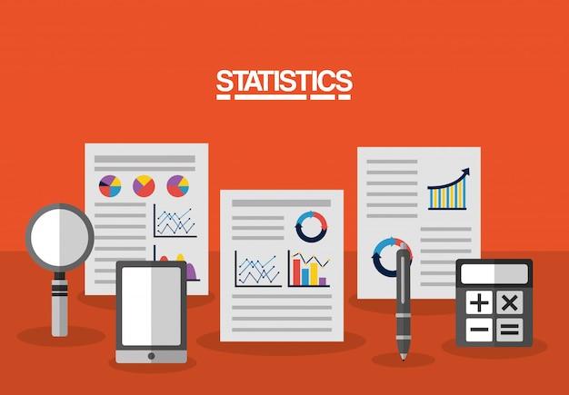 Ilustração de negócios de dados estatísticos