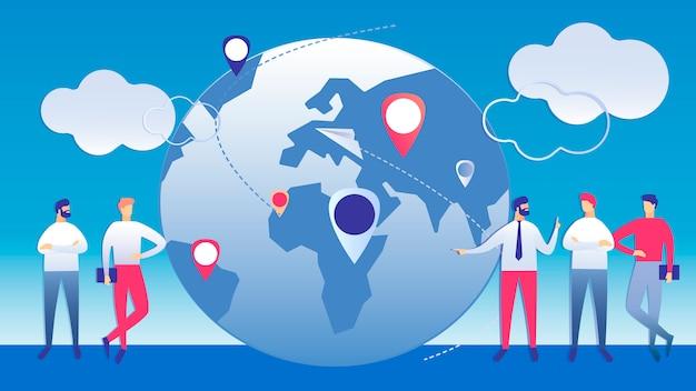 Ilustração de negócios de gestão internacional
