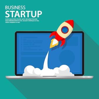 Ilustração de negócios de inicialização bem sucedida