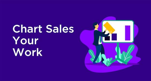 Ilustração de negócios de vendas de gráfico