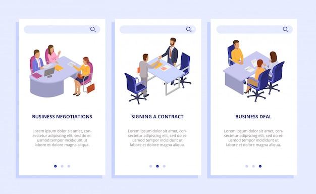 Ilustração de negócios negócios financiar. negociações comerciais, assinando contrato conjunto de banners verticais. página da web, site, telefone celular.