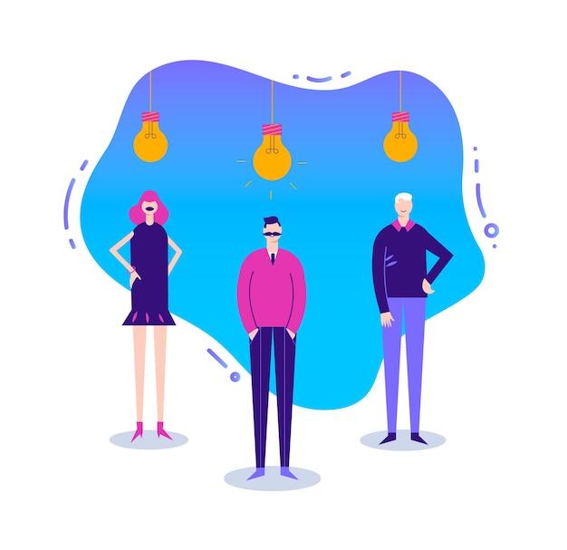 Ilustração de negócios, personagem estilizado. coworking, freelance, trabalho em equipe, comunicação, interação, ideia. homens e mulheres em pé com lâmpadas de cabeça para baixo