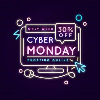 Ilustração de néon cyber segunda-feira