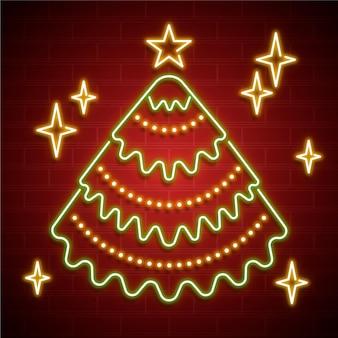 Ilustração de néon da árvore de natal