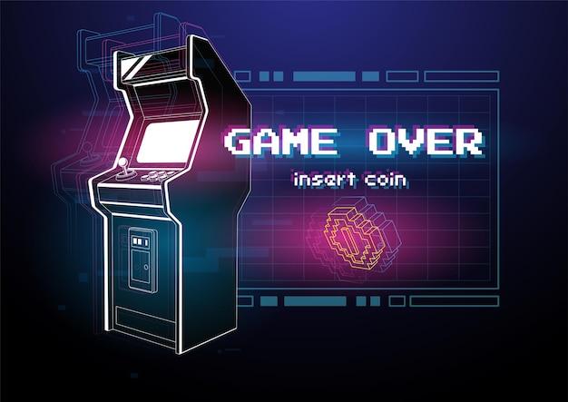 Ilustração de néon da máquina de jogos arcade. .