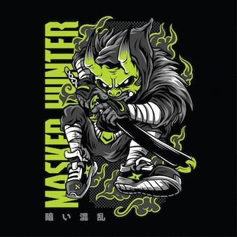 Ilustração de néon de caçador mascarado