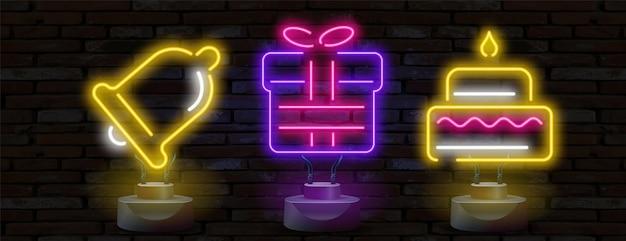 Ilustração de néon do conjunto de ícones de presentes
