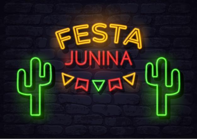 Ilustração de néon festa junina