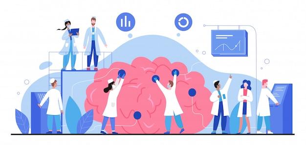Ilustração de neurologia, pessoas minúsculas médico dos desenhos animados estudam o cérebro e o sistema nervoso em pesquisas médicas anatômicas em branco