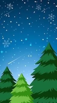 Ilustração de neve na floresta