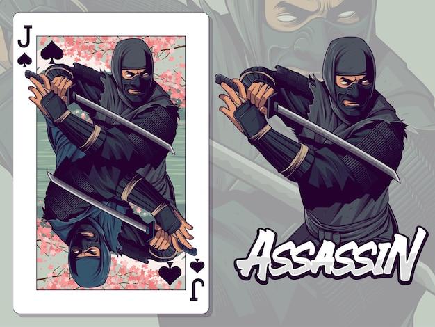 Ilustração de ninja para design de cartas de jogar valete de espadas
