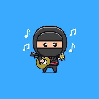 Ilustração de ninja preto fofo tocando violão