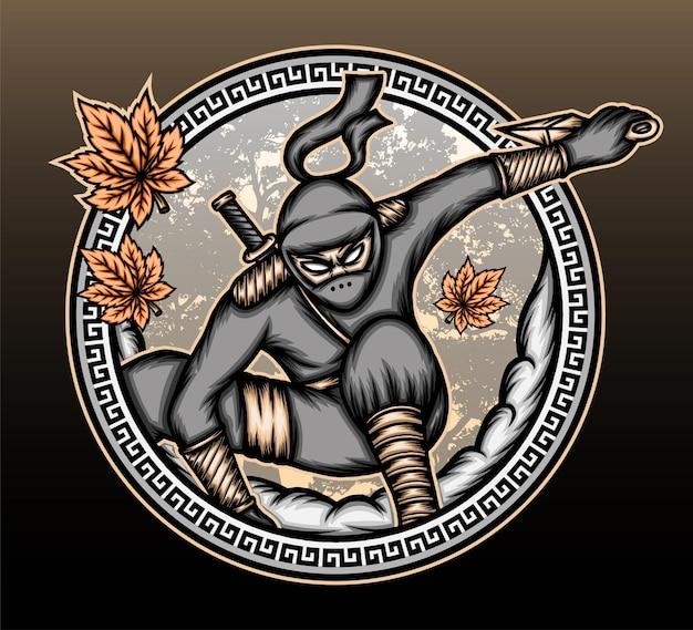 Ilustração de ninja shinobi legal.
