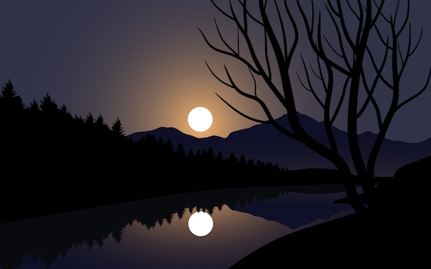 Ilustração de noite com luar e rio