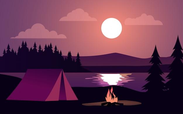 Ilustração de noite com tenda e fogueira no lago