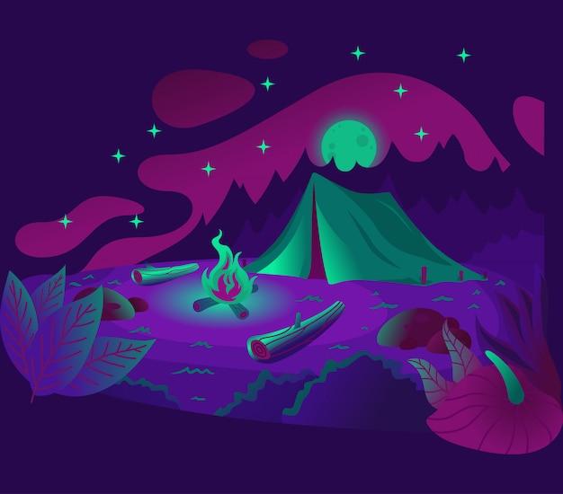 Ilustração de noite de acampamento