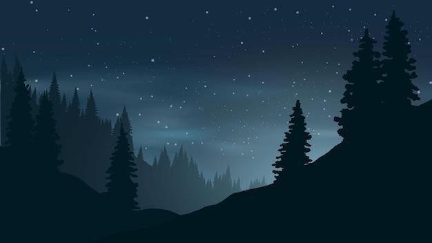 Ilustração de noite estrelada em floresta de pinheiros