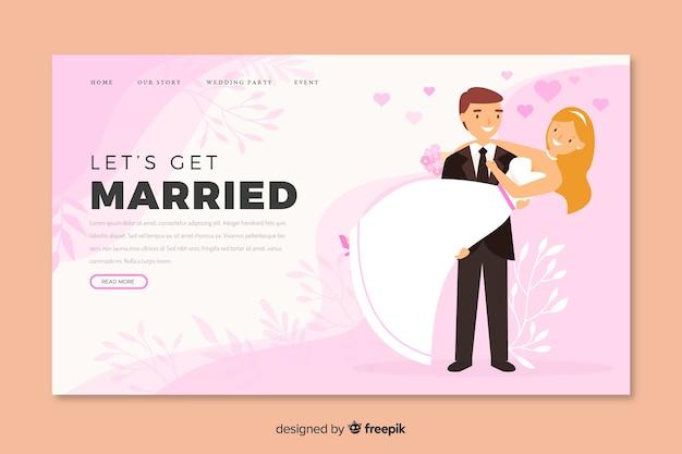 Ilustração de noiva e noivo no modelo de página de destino de casamento