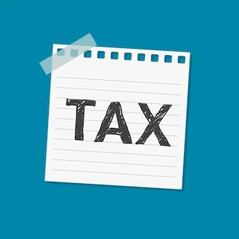 Ilustração de nota auto-adesiva de aviso de imposto