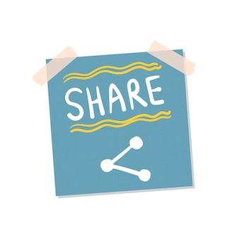 Ilustração de nota auto-adesiva de compartilhamento de arquivos