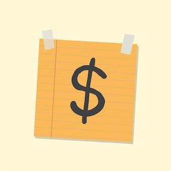 Ilustração de nota autocolante de dólares americanos