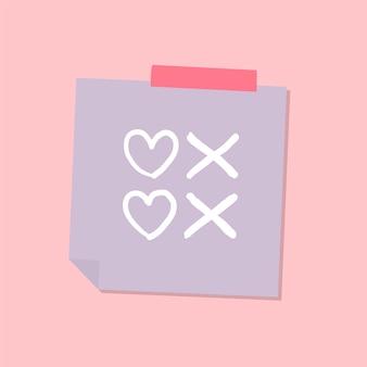 Ilustração de nota de amor bonito e doce