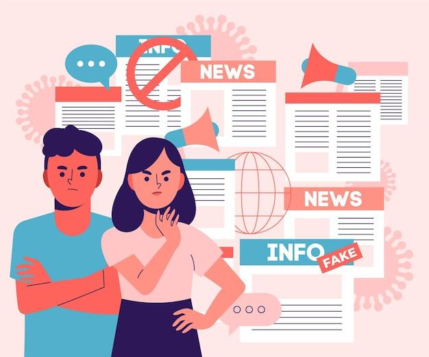 Ilustração de notícias infodêmicas