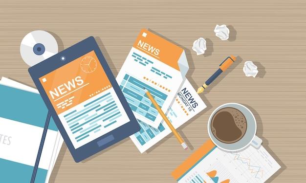 Ilustração de notícias online, vista de cima