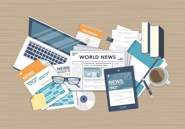 Ilustração de notícias online