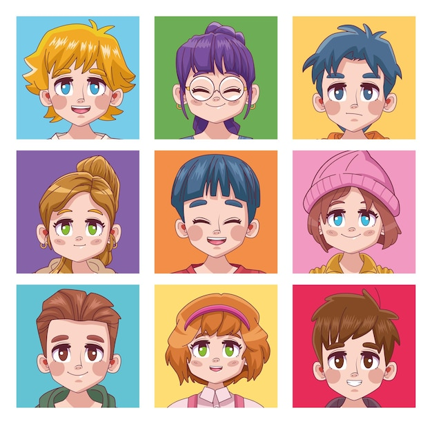 Ilustração de nove jovens adolescentes fofinhos personagens de anime
